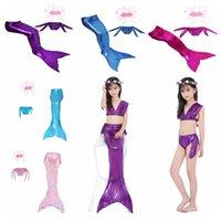 traje de baño sirena niño al por mayor-Traje de baño de sirena para niños 11 colores Summer Girls Mermaid Tails traje Cosplay traje de baño playa linda trajes de baño OOA7020