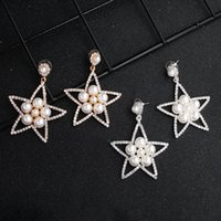 Wholesale chandelier wedding dress for sale - Group buy 2019 European and American Fashion Personality Earrings New Diamond Earrings Stars Pearl Earrings Eardrop of Dinner Party Dress JCC109