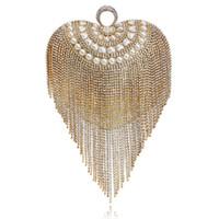 çanta için inci yapay elmas toptan satış-Kadın Debriyaj Çanta Akşam Çanta Moda Lüks Rhinestone Kristal Inci Zarif Düğün Parti Bayan Çanta Püskül Omuz Çantası