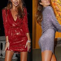 kurzes rotes glitterkleid großhandel-Neue sexy mode frauen tiefem v-ausschnitt glitter dress langarm kurz bodycon schlank club wear nachthemden für frauen im roten splitter