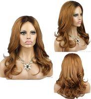 pelucas de encaje completo rubia europea al por mayor-Celebrity Wig Lace Front Wigs Ombre Style Loose Wave Two Tone European Virgin Hair Honey Blonde Full Honey pelucas de encaje envío gratis