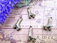 Wholesale roller skate charms resale online - 60pcs Roller Skate Charms Antique Tibetan bronze Tone Roller Skate charm pendant x12mm