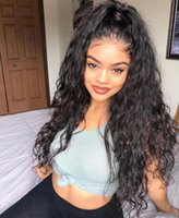 Wholesale brazilian kinky hair wig resale online - Water Wave Ponytail Natural Color Human Hair Lace Wigs for Black Women Thick Long Brazilian Loose Wave X6 Lace Front Wigs