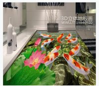 Wholesale chinese fish pictures resale online - Customized D Self adhesive floor photo mural wallpaper Chinese style nine fish picture lotus pond D bathroom bedroom waterproof floor