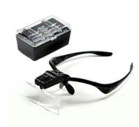 kafa bandı büyüteçleri toptan satış-Kafa büyüteç Göz Onarım Büyüteç 2 LED Işık 1.0 / 1.5 / 2.0 / 2.5 / 3.5X5 ADET Gözlük Büyüteç Optik Lens (HIÇBIR PIL)