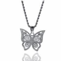 50d685fb861c Venta al por mayor de Collar De La Mariposa Del Diamante Del Oro ...