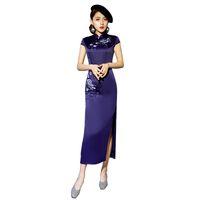 qipao largo al por mayor-Más el tamaño 4XL elegante vestido largo de las señoras del estilo chino Qipao Etapa Show elegante bordado femenino de manga corta Cheongsam