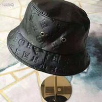 Wholesale folding cowboy hat resale online - Fashion Designer Leather Letter Bucket Hat For Mens Womens Foldable Caps Black Fisherman Beach Sun Visor Sale Folding Man Bowler Cap