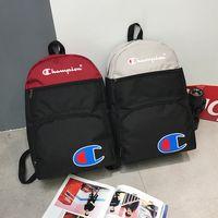 okul için kumaş sırt çantaları toptan satış-Şampiyonu Mektup Renk Eşleşen Sırt Çantası Oxford Kumaş Omuz Çantaları Packsack Moda Öğrencileri Okul Çantası Spor Seyahat Depolama Sırt Çantası C3276