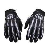 esqueletos de guantes de ciclismo al por mayor-Novely Outdoors Guantes de ciclismo para hombre Bicicleta Motocicleta Skull Bone Skeleton Goth Full Finger Riding Gloves Men Cycling Equipment # 314861