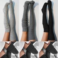 medias del muslo al por mayor-Señora de las mujeres de lana caliente Tejer sobre la rodilla medias hasta el muslo Medias Calcetines Pantys