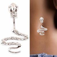 bikinis-ring großhandel-Strass Körperschmuck Drop Quaste Nabel Piercings Navel Bell Taste Ringe Schlange Form Frauen Bikini