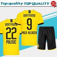 kits de futebol amarelo venda por atacado-2019 Dortmund em casa terno de Futebol Jersey 19/20 # 11 REUS # 10 M.GOTZE # 22 PULÍSICA home amarelo Camisas de Futebol Personalizado uniformes de Futebol kits