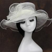Wholesale pink hat organza resale online - Ladies Elegant Organza Flower Hat Kentucky Derby Wedding Church Party Floral Sun Summer Beach Hat Mesh Church Hat
