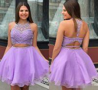 gerdanlıksız gerdanlık mezuniyet elbisesi toptan satış-Sevimli Lavanta Mezuniyet Elbiseleri İki Adet Jewel Boyun Lüks Boncuklu Bir Çizgi Backless Custom Made Hollow Mezuniyet Partisi Törenlerinde