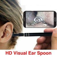 usb endoscope 5.5mm venda por atacado-1.5M 5.5mm endoscópio Earpick limpeza ferramenta 2-in-1 Ear USB Limpeza HD Visual Ear Colher Com Mini Camera Ear