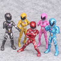 tema oyuncakları toptan satış-Film Savaşçı D Modeli PVC Ranger Eylem Şekil Hediyeler Toplama Around the Power Rangers Doll Toys 5 adet / set Dinozor Takım Güç Bebekler