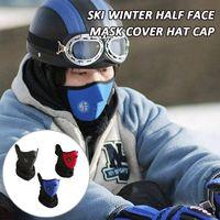 sombrero cubre la cara al por mayor-Esquí invierno media mascarilla cubierta gorra gorra motocicleta polar polar pasamontañas cuello