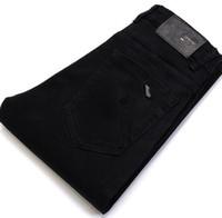 ingrosso pantaloni jeans coreani per gli uomini-Pantalone coreano lavato da uomo in jeans alto colore elastico nero puro