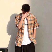 vestuário para mulheres tamanho xxl venda por atacado-Mens Womens Clothing Designer de Verão Camisa Xadrez Homens e Mulheres Marca de Manga Curta Camisa de Luxo Tamanho M-XXL
