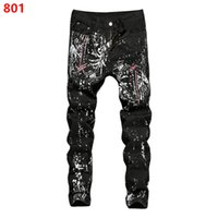 ingrosso nastro scuro plaid-Pantaloni da uomo neri da uomo Pantaloni sportivi da jogging Fashion Designer Slim Casual Zipper Ribbon Plaid Stampa lettere 3D Paint Splash Effect