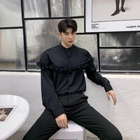 siyah dantel beyaz yakalı elbise toptan satış-2019 Bahar Yeni Erkekler Streetwear Vintage Elbise Gömlek Siyah Beyaz Defile Standı Yaka Dantel Uzun Kollu Casual Gömlek Erkek