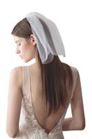 romantische hochzeitsschleier großhandel-Blusher Veils Short Wedding Veil 1 Layer Romantic Headpiece Veil für die Braut Einfache Handarbeit Edle Tüll Short Face Veil Headwear