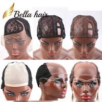 ayarlanabilir peruklar toptan satış-Peruk U Bölüm Lace Making için Bella Saç Profesyonel Dantel Peruk Caps Ayarlanabilir Sapanlar ile Renk Kahverengi / Siyah C En Cap Caps