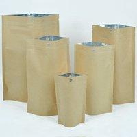zip lock bolsa de papel marrom venda por atacado-100pcs 10x15cm / 12x20cm Rasgue Notch Food Tea armazenamento de bloqueio Zip Bolsas Stand Up Pouches Brown Kraft Paper Bag Com Asa