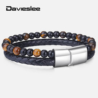 мужские кожаные бисерные браслеты оптовых-DoubleLayers Mens Bracelets BlackGlassYellowTigerEyeStone Leather Beaded Bracelets for Men Charm Wristband LDLB142