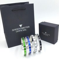 Wholesale christmas gift bags free shipping for sale - Group buy Luxury Watch style Speedometer official Cuff Bracelet Stainless steel Women Mens Bangle Bracelets with Gift Box bags