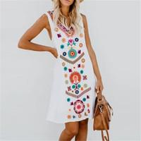 elbise çiçek polyester toptan satış-5XL Kadınlar Çiçek Baskı Elbiseler Kolsuz Yaz Moda V Boyun Artı Boyutu Kadın Giyim Gevşek Rahat Giyim