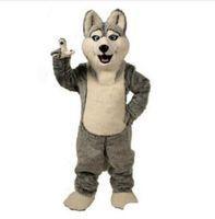köpek kostüm çocuğu toptan satış-2018 Yüksek kalite yeni Kurt maskot kostümleri cadılar bayramı köpek maskot karakter tatil Kafa fantezi parti kostüm yetişkin boy doğum günü