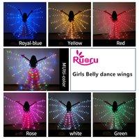 ingrosso le ali delle danze di ballo-Ruoru Girls Colorato danza del ventre Ali LED Bianco Arcobaleno Bambini Bambini Isis Ali Bellydance Performance Dancing Accessori