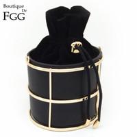 черное металлическое ведро оптовых-Оптово-европейский и американский бренд женская мода ведро черный PU металлический каркас строка вечерняя сумочка клатч 100см о цепь