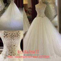reizvolles diamantspitze-hochzeitskleid groihandel-2020 Luxus Beaded Diamanten Spitze Brautkleider Schatz-Sequined Lange Brautkleider Korsett Elegante Brautkleider vestidos de novia