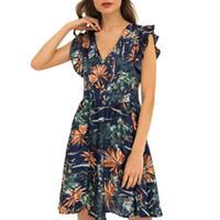 elbise seksi v toptan satış-Yaz Elbise 2019 Moda Rahat Seksi Baskılı V Yaka Lotus Kenar Baskılı Ziyafet Elbise Kısa Tatlı vestidos robe femme