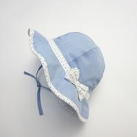 chapéu azul das meninas venda por atacado-Miúdos do verão Chapéus Sólidos do bebê azul da menina da criança de Cordas Chin Strap crianças Sun Hat Brim Grande com Padrão Dot Bow Decor Hat para meninas