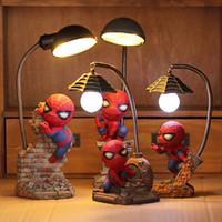 figura de acción led al por mayor-Avengers de dibujos animados Figuras de acción Spider Man Lámpara de noche Resina Niños Dormitorio Luz de noche LED para niño Niños Regalo creativo de Navidad