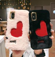 ingrosso copertina di pelliccia di coniglio-New Luxury Cartoon Ricamo Love Heart case per iPhone X XS Max XR 6 6S 7 8 Plus Rabbit Fur peluche super cute morbida cover in TPU Coque