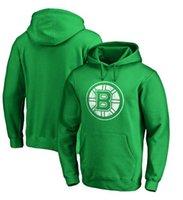 брюки с капюшоном оптовых-Мужчины Бостон Брюинз Келли Грин Св. Патрик Дэй Белый пуловер с капюшоном с логотипом