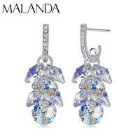 Wholesale 925 silver swarovski earring for sale - Group buy MALANDA New Sterling Silver Long Drop Earrings Crystal From Swarovski Dangle Earrings For Women Luxury Personality Jewelry