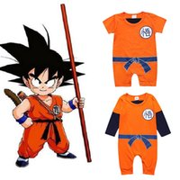 Wholesale newborn sports clothes resale online - Dragon Ball Romper For Baby Boy Clothes Ins Toddler Cartoon Sport Jumpsuit Infant Newborn Cotton Fleece Overall Kid Costume
