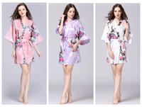 orange sleepwear großhandel-Blumen Kimono Pyjams Sommer Mädchen Dame Nachthemd 12 Stile Seide Nachtwäsche Frauen Nachtkleid V-Ausschnitt pjms