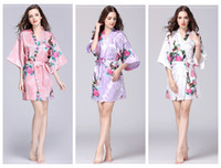 Wholesale women s silk sleep set resale online - Floral Kimono pajams summer girls lady nightdress styles silk sleepwear women night gown V neck pjms