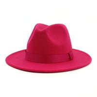 Wholesale fascinator party resale online - 2019 Women Stylish Rosy Wool Felt Jazz Fedora Hats with Ribbon Wide Brim Panama Formal Hat Trilby Ladies Fascinator Dress Hats