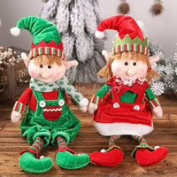 Discount wholesale elf decor Plush Elf Elves Dolls Toy Christmas Tree Ornaments Decor New Year Gift Xmas Home Office Decoration