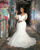 Wholesale mermaid lace wedding dresses ruched resale online - Vintage Plus Size Mermaid Wedding Dresses Long Sleeves Lace V Neck Country Boho Bridal Gowns For Garden African robes de mariée