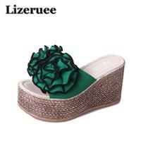 прозрачные шлепанцы оптовых- Women Slippers Wedge High Heels Summer Shoes Platform Flowers Straw Bohemia Transparent Flip Flops Party Shoes Women HS105