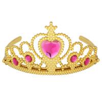 plastik keltisches stirnband großhandel-eadbands Mädchen Haarschmuck Goldfarbe einzigartig schöner Kunststoff Tiara Haarband Rosa Rhinestone-Prinzessin Kronen-Stirnband-Haar-Zugang ...